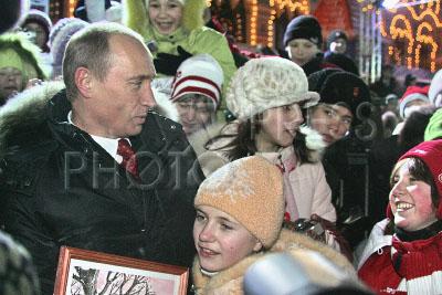 798572 / Владимир Путин. Президент России Владимир Путин на катке на Красной площади.
