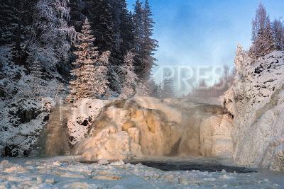4161738 / Водопад Кивач. Река Суна. Водопад Кивач на территории одноимённого государственного природного заповедника в январе.