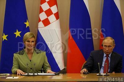 4264184 / Грабар-Китарович и Путин. Встреча президентов РФ и Хорватии. Президент Хорватии Колинда Грабар-Китарович и президент России Владимир Путин.