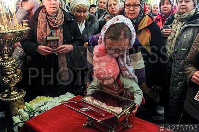 4273796 / Мощи святой мученицы Татианы. Мощи (десница) святой мученицы Татианы из Свято-Успенского Псково-Печерского монастыря в Санкт-Петербурге. Верующие у ковчега.