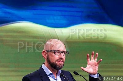 4274948 / Арсений Яценюк. Съезд политической партии `Народный фронт`. Лидер `Народного фронта`, бывший премьер-министр Арсений Яценюк.