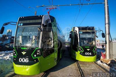 4337249 / Частный трамвай `Чижик`. Частная трамвайная линия. Обкатка первого частного трамвая `Чижик`.