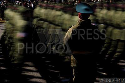 4359912 / Репетиция парада Победы. Репетиция военного парада в честь Дня Победы. Репетиция парадного расчета пешей колонны.