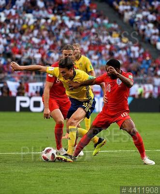 4411908 / Футбол: Швеция - Англия. Чемпионат мира по футболу 2018 FIFA. 1/4 финала. Матч Швеция - Англия. Игроки сборной Англии радуются победе.