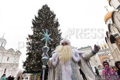 4485507 / Дед Мороз. Подготовка к Новому Году. Московский Кремль. Дед Мороз у главной новогодней елки на Соборной площади.