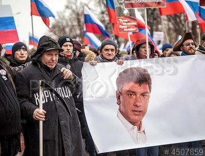 4507859 / Акция памяти Бориса Немцова. Марш памяти убитого 27 Февраля 2015 года в Москве российского политика Бориса Немцова.