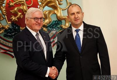 4527579 / Штайнмайер и Радев. Визит президента Германии в Болгарию. Президент ФРГ Франк-Вальтер Штайнмайер (слева) и и президент Болгарии Румен Радев на встрече с президентом Болгарии.
