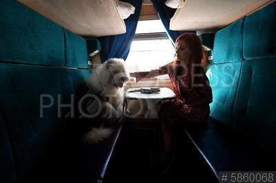 5860068 / Пассажиры поезда. Женщина с собакой в купе поезда.