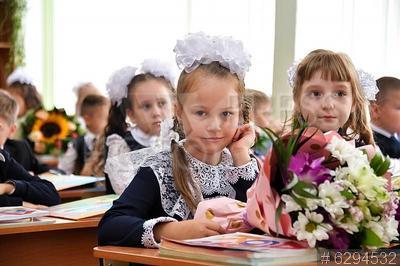 6294532 / Первоклассники. Первоклассники на первом уроке в школе.
